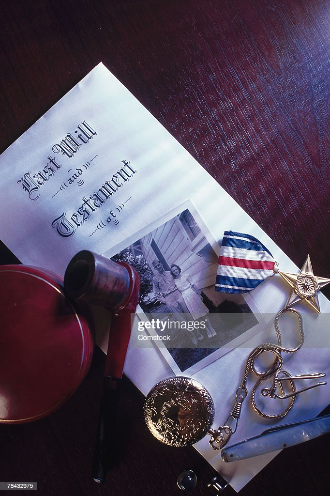 Personal effects and last will and testament : Stockfoto