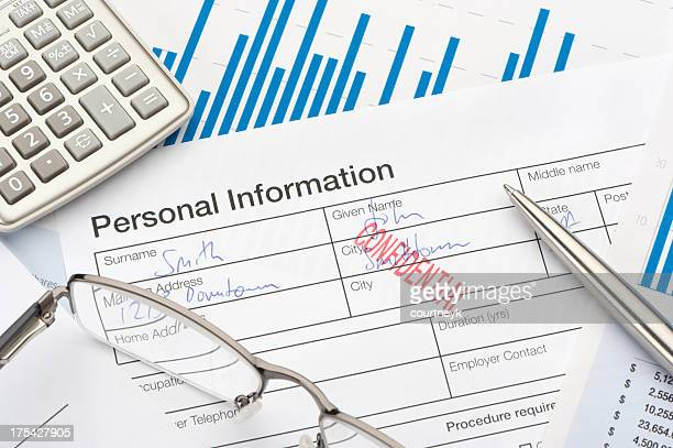 personal information form with confidential stamp - information medium stock pictures, royalty-free photos & images