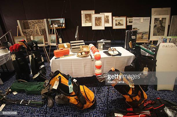 Personal items are displayed during a press preview of a US Marhals Service auction of personal property seized from Bernard and Ruth Madoff November...