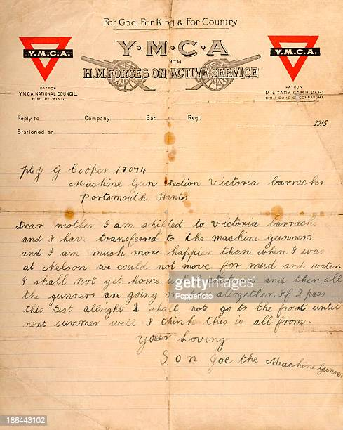 A personal letter on YMCA letterhead from Private Joseph George Cooper 'the machine gunner' of the 1st Royal Berkshire Regiment to his mother from...