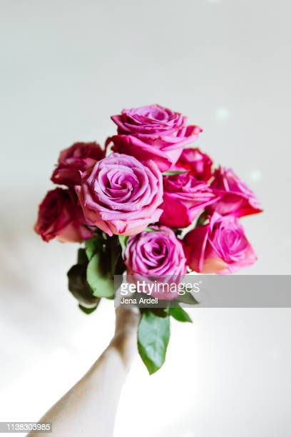 personal perspective holding bouquet, first person perspective bouquet, hand holding bouquet, hand holding roses - jena rose stockfoto's en -beelden