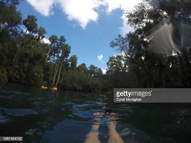 Personal Perspective of a Woman Floating in a Spring in Florida