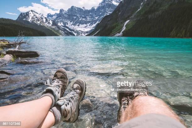 Persönlichen Sicht der Wanderer ruht der See