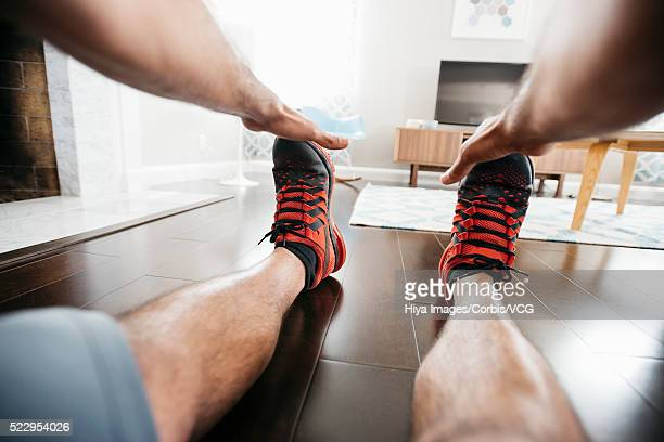 personal perspective of man exercising - unusual angle stock pictures, royalty-free photos & images