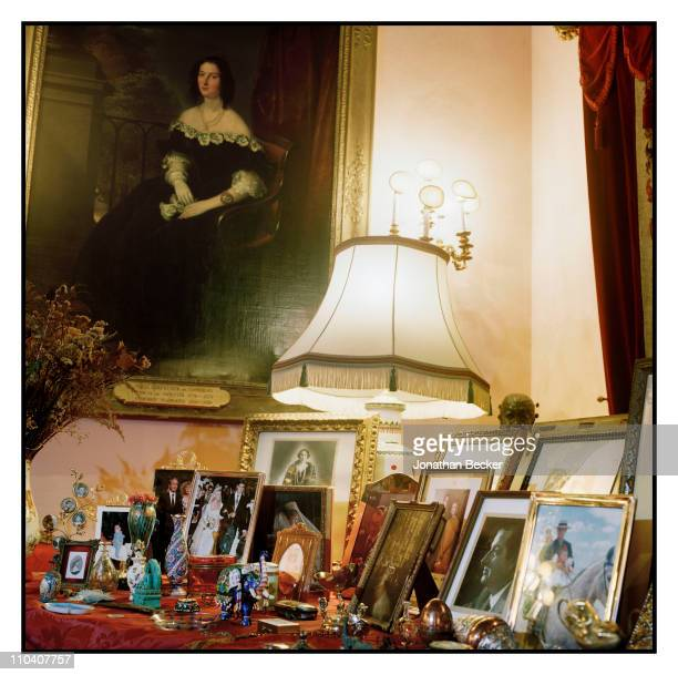 Personal photos from The Duchess of Alba Dona Cayetana FitzJames Stuart's collection is photographed in the piano room of the Palacio de Duenas for...