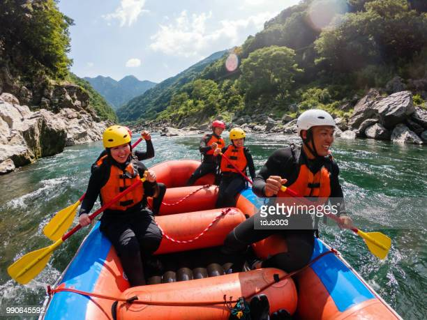 personal point of view of a white water river rafting excursion - aquatic sport stock pictures, royalty-free photos & images