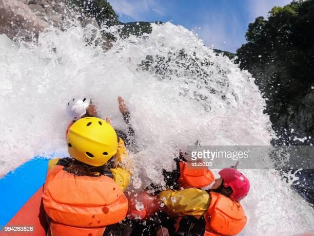 Persoonlijke standpunt van een rivier van de white water raften excursie