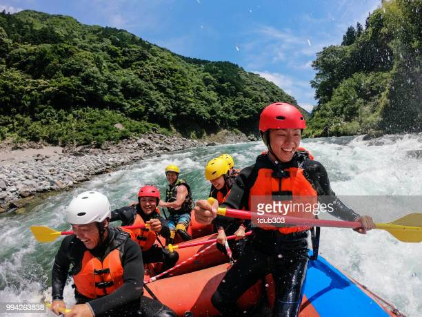 personal point of view of a white water river rafting excursion - whitewater rafting stock pictures, royalty-free photos & images