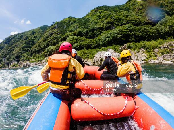 personal point of view of a white water river rafting excursion - rafting stock pictures, royalty-free photos & images