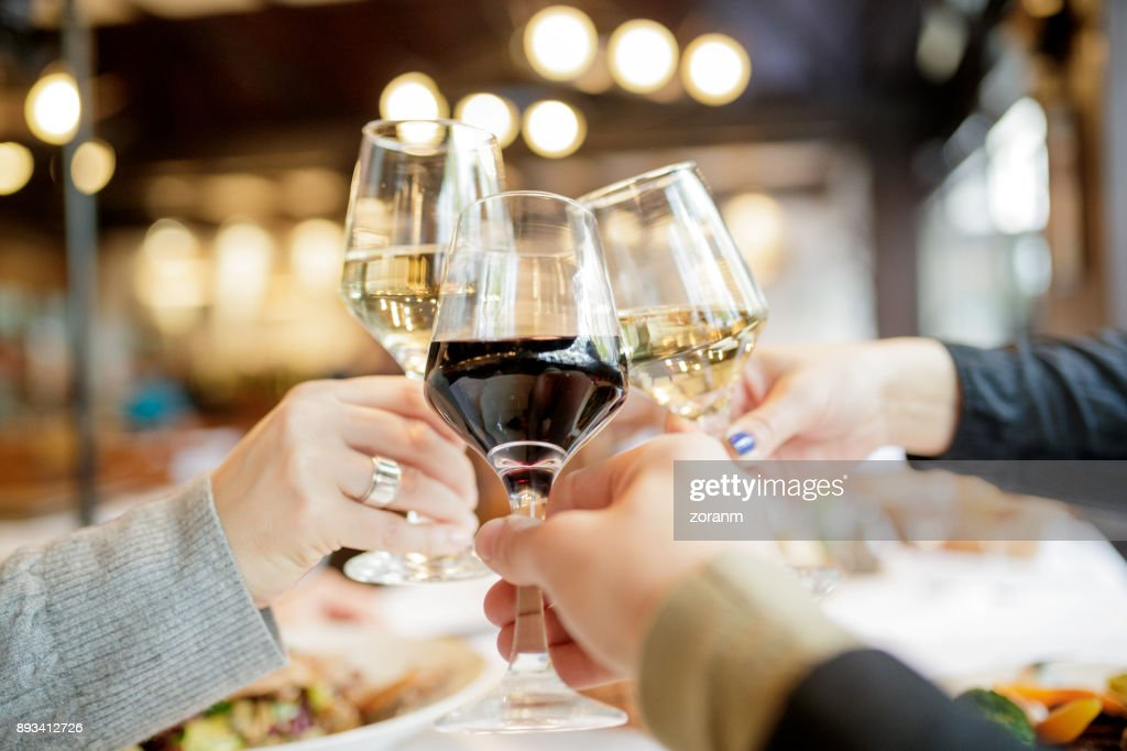 Personal point of view of wine toasting : Stock Photo
