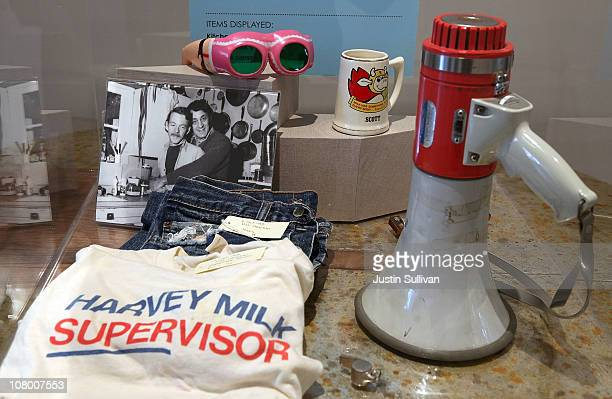 Personal possesions of the late San Francisco supervisor Harvey Milk are displayed during the grand opening of the Gay Lesbian Bisexual and...