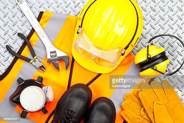 Personal protective workwear shoot from above on diamondplate