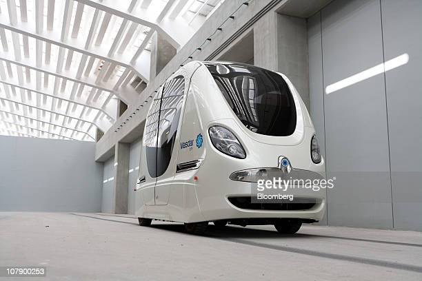 A Personal Rapid Transit vehicle or driverless electric pod car which transports students between parking areas and the institute is seen at the...