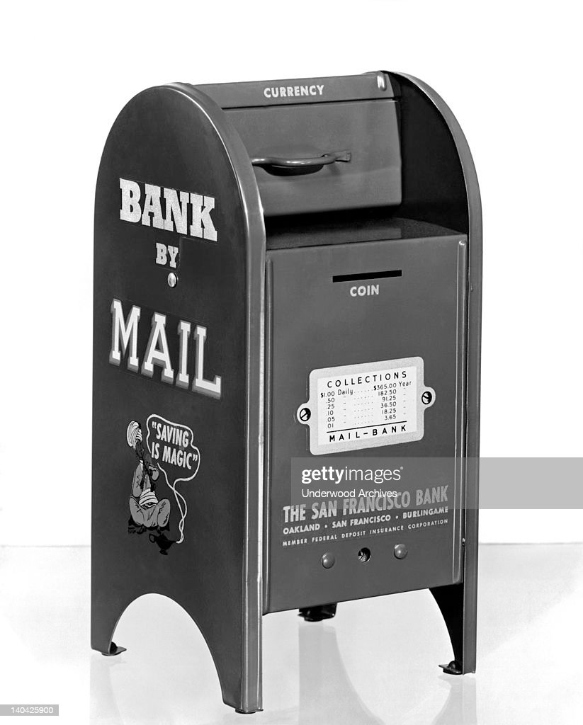 A personal savings bank in the form of a mailbox given away by The San Francisco Bank to customers to encourage savings, circa 1955. If the account was closed, the customer must give the bank back or be charged two dollars for the bank.