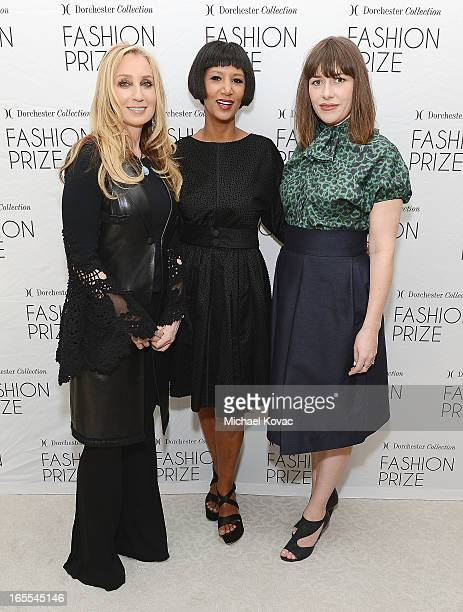 Personal shopper Catherine Bloom designer Gelila Puck and stylist Penny Lovell attend the US Launch of The Dorchester Collection Fashion Prize 2013...
