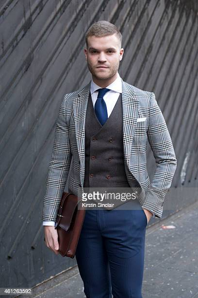 Personal shopper for FarFetchcom Phillip Green wearing Scotch and Soda blazer Holdall and Co satchel waistcoat trousers shirt and tie by Suit Supply...