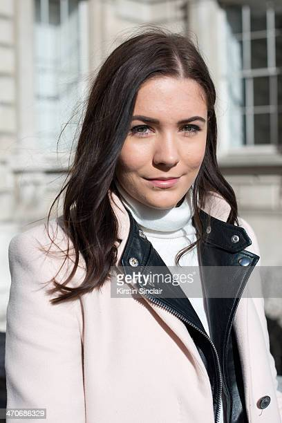 Personal shopper Hannah Crosskey wears a Zara coat New look leather jacket Primark roll neck jumper on day 3 of London Collections Women on February...
