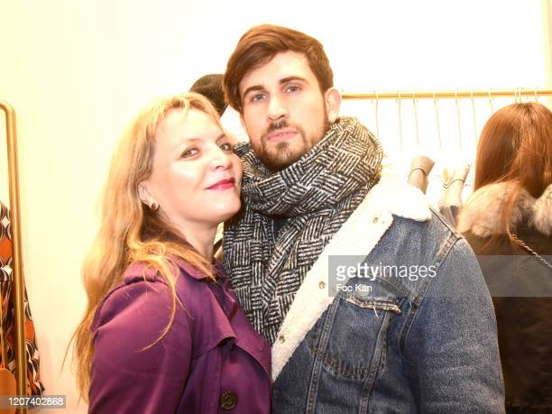 """Personal shopper Nadia Ronteix and blogger Yanis Bargoin attend """"Interdee"""" Rue Du Bac Store Launch Cocktail on February 19, 2020 in Paris, France."""