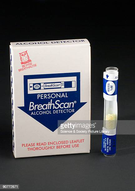Personal singleuse breathalyser for drivers to test their own breath for alcohol The pack consists of a plastic tube filled with yellow crystals and...