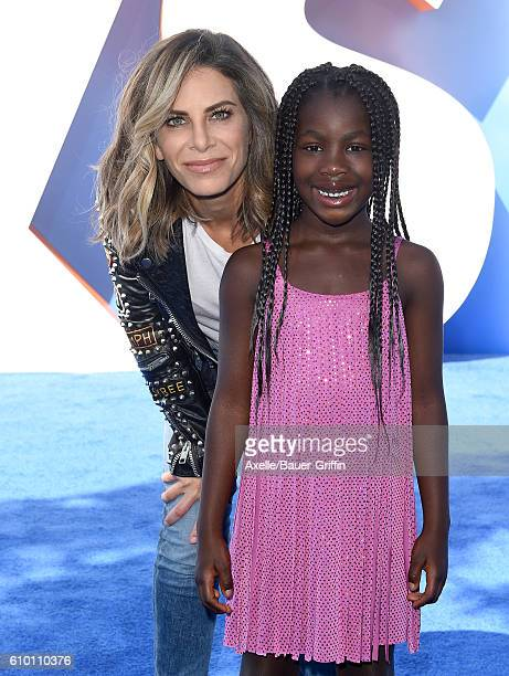 Personal trainer Jillian Michaels and daughter Lukensia Michaels Rhoades arrive at the premiere of Warner Bros Pictures' 'Storks' at Regency Village...