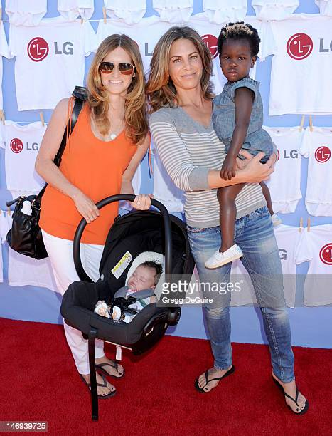 Personal trainer Jillian Michaels partner Heidi Rhoades son Phoenix and daughter Lukensia arrive as LG presents '20 Magic MinutesA Family...