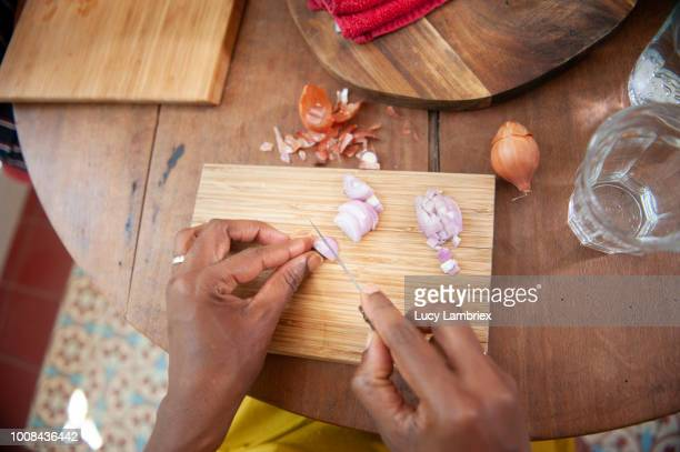 Personal view of a woman cutting onions