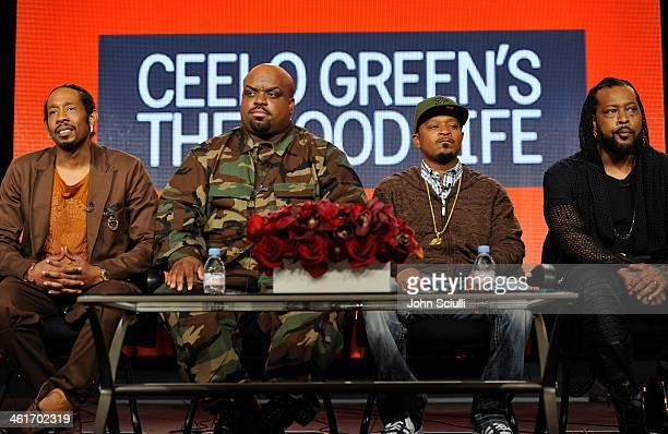 TV personalites Big Gipp CeeLo Green TMo and Khujo speak onstage at the 2014 TCA Winter Press Tour Turner Broadcasting Presentation on January 10...