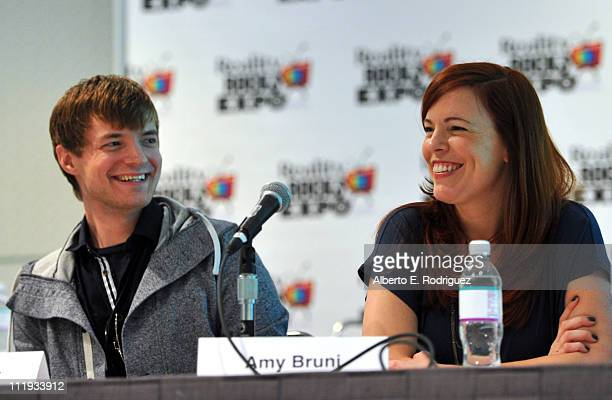 TV personalities Adam Berry and Amy Bruni speak at Reality Rocks Expo Day 1 at the Los Angeles Convention Center on April 9 2011 in Los Angeles...