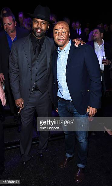 TV personalities AJ Calloway and JR Martinez attend DirecTV Super Saturday Night hosted by Mark Cuban's AXS TV and Pro Football Hall of Famer Michael...