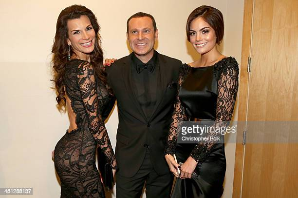 TV personalities Alan Tacher and Cristina Bernal pose with model Ximena Navarrete backstage during the 14th Annual Latin GRAMMY Awards held at the...