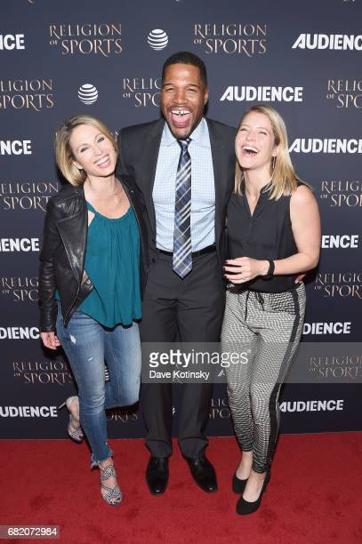 Personalities Amy Robach Michael Strahan and Sara Haines attend ATT Audience Network Celebrates the Religion of Sports at St Bart's Cathedral on...