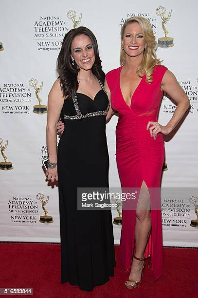 Personalities Andrea Grymes and Alice Gainer attend the 59th Annual New York Emmy Awards at the Marquis Times Square on March 19 2016 in New York City