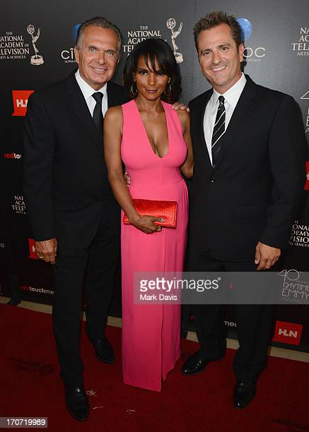 TV personalities Andrew P Ordon Lisa Masterson and Jim Sears attend The 40th Annual Daytime Emmy Awards at The Beverly Hilton Hotel on June 16 2013...