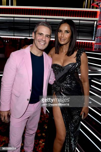Personalities Andy Cohen and Padma Lakshmi attend the 2018 Billboard Music Awards at MGM Grand Garden Arena on May 20, 2018 in Las Vegas, Nevada.