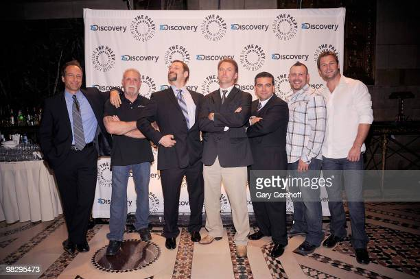 TV personalities Andy Hillstrand Paul Teutel Sr Jonathan Hillstrand Mike Rowe Buddy Valestro Paul Teutel Jr and Dave Salmoni attend the Paley Center...