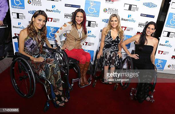 TV personalities Angela Rockwood Auti Angel Tiphany Adams and Mia Schaikewitz attend the Los Angeles premiere of 'Cinemability' at Paramount Studios...