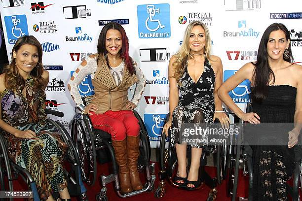 TV personalities Angela Rockwood Auti Angel Tiphany Adams and Mia Schaikewitz attend the 'Cinemability' Los Angeles Premiere at Paramount Studios on...