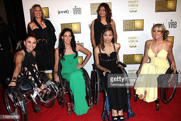 TV personalities Angela Rockwood Mia Schaikewitz Auti Angel and Tiphany Adams attend the BTJA Critics' Choice Television Award held at The Beverly...