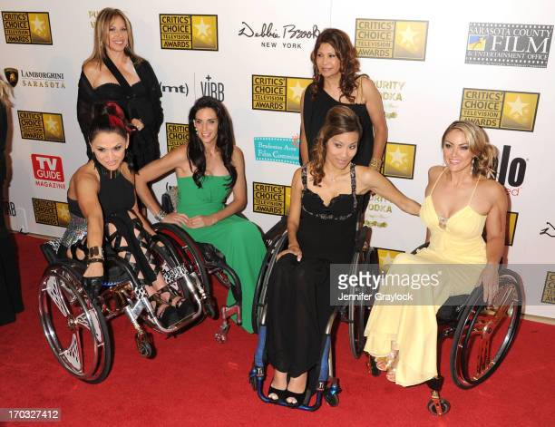 TV personalities Angela Rockwood Mia Schaikewitz Auti Angel and Tiphany Adams attend the BTJA Critics' Choice Television Awards at The Beverly Hilton...
