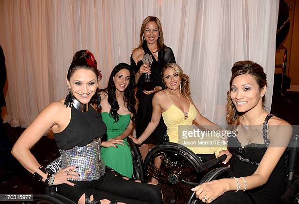TV personalities Angela Rockwood Mia Schaikewitz Tiphany Adams and Auti Angel pose with their award for Best Reality Series backstage at the...