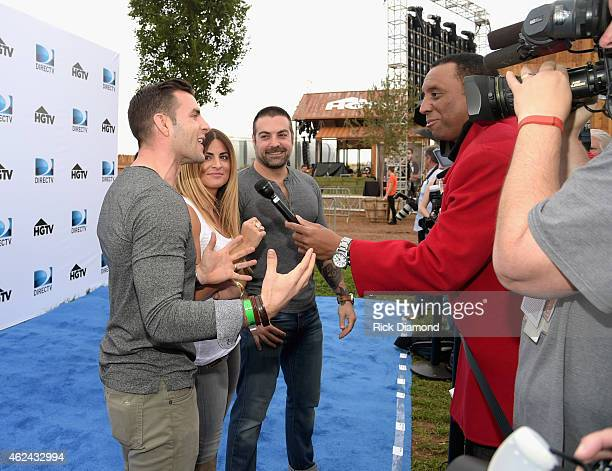 TV personalities Anthony Carrino Alison Victoria and John Colaneri attend DirecTV Super Fan Festival Day 1 at the Pendergast Family Farm on January...
