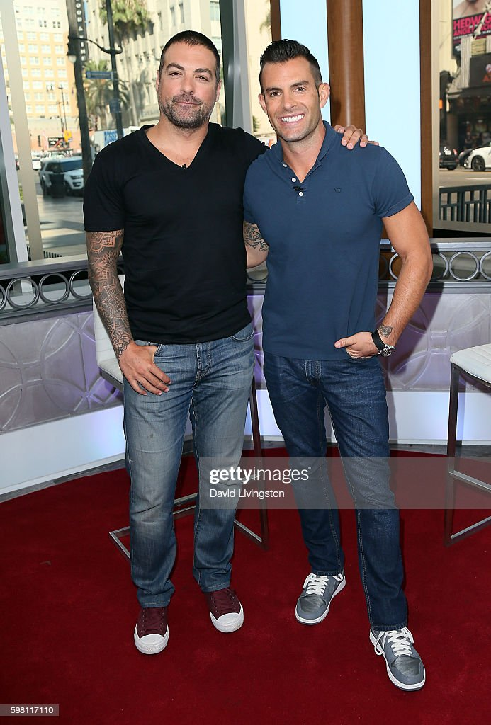 TV personalities Anthony Carrino (L) and John Colaneri visit Hollywood Today Live at W Hollywood on August 31, 2016 in Hollywood, California.