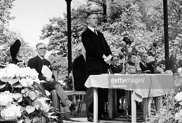 13th May 1948 Battersea Park London The Duke of Wellington then the Lord Lieutenant of the county of London speaking as he opens an exhibition of...