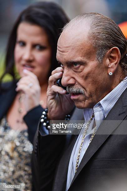 """Personalities Ashley Broad and Les Gold tape an interview at """"Good Morning America"""" at the ABC Times Square Studios on November 12, 2012 in New York..."""
