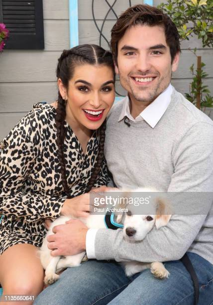 Personalities Ashley Iaconetti and Jared Haibon visit Hallmark's Home Family at Universal Studios Hollywood on March 13 2019 in Universal City...
