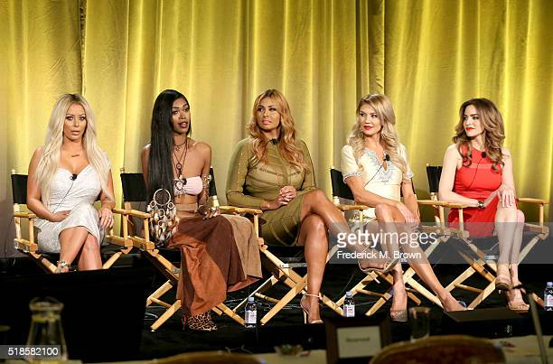TV personalities Aubrey O'Day Jessica White Somaya Reece Brandi Glanville and Dr Darcy Sterling speak onstage during the 'Famously Single' panel at...