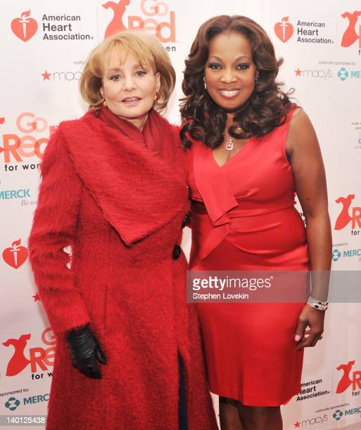 TV personalities Barbara Walters and Star Jones attend the American Heart Association's 2012 New York City Go Red for Women luncheon at the Hilton...