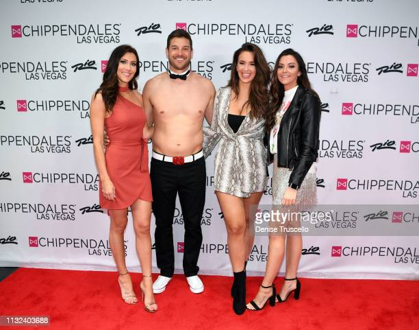 TV personalities Becca Kufrin Garrett Yrigoyen Caroline Lunny and Tia Booth arrive at Chippendales Las Vegas at the Rio AllSuit Hotel and Casino on...