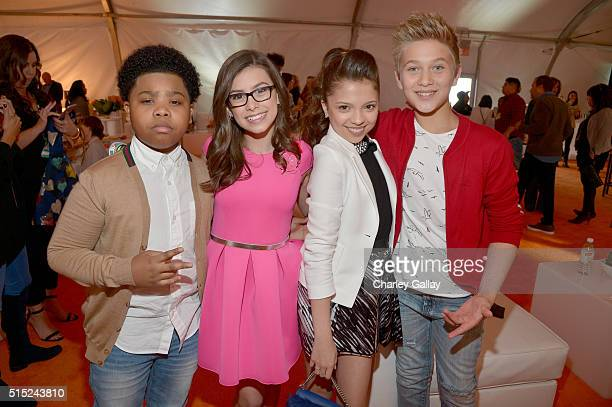 TV Personalities Benjamin Flores Jr Madisyn Shipman Cree Cicchino and Thomas Kuc attend Nickelodeon's 2016 Kids' Choice Awards at The Forum on March...