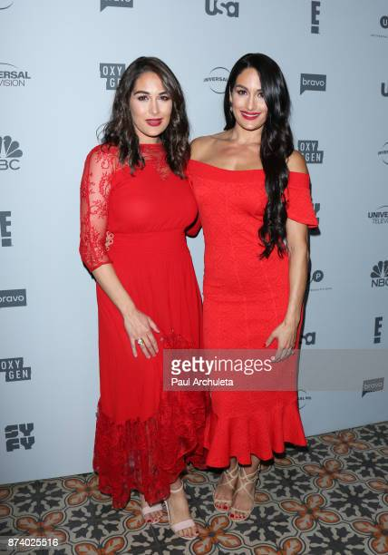 Personalities Brie Bella and Nikki Bella attend NBCUniversal's press junket at Beauty Essex on November 13 2017 in Los Angeles California